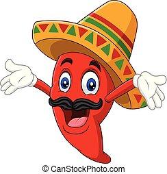 Cartoon feliz sombrero chile picante