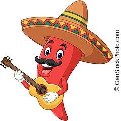 Cartoon feliz sombrero chile picante tocando una guitarra