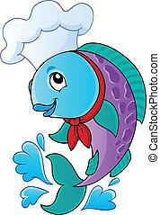 Cartoon fish chef