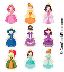 Cartoon hermosos iconos de princesa