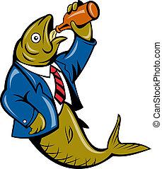 Cartoon Herring fish bebiendo cerveza