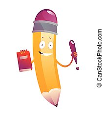 cartoon., humanized, ilustración, emoji, lindo, libro, carácter, brazos, cara, lápiz