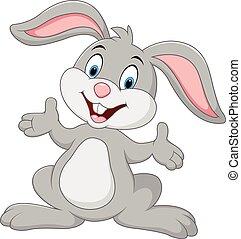 Cartoon lindo conejo posando