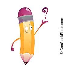 cartoon., pregunta, lápiz, cara, emoji, carácter, humanized, illustration., lindo, brazos