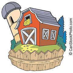 Cartoon rojo granero con cerca