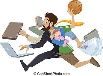 Cartoon super ocupado hombre y padre multitarea haciendo muchos trabajos