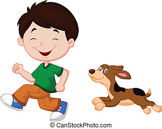 Cartoon un niño corriendo con su mascota