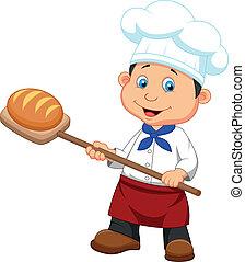Cartoon un panadero con pan
