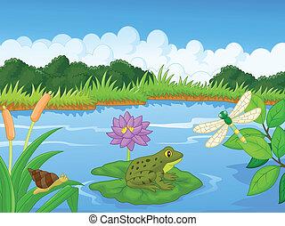 Cartoon una rana en el río
