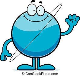 Cartoon uranus saludando