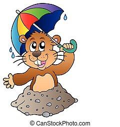 Cartulina con paraguas