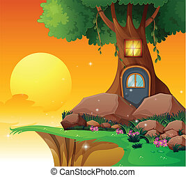 casa, árbol, acantilado