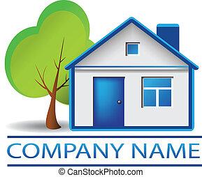 casa, árbol, verdadero, logotipo, propiedad