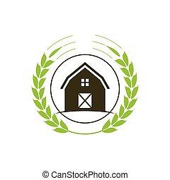 casa, agricultura, granja, logotipo, señal, plantilla, símbolo, concepto, icono