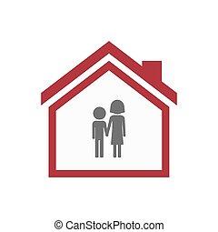 Casa aislada con un pictograma de la infancia