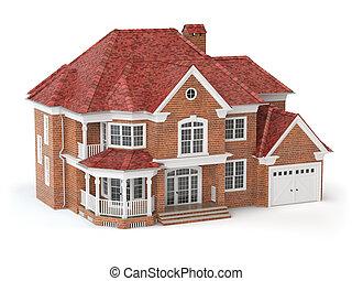 Casa aislada en blanco. El concepto de bienes raíces. 3D