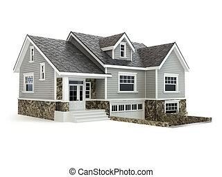 Casa aislada en blanco. El concepto de bienes raíces.