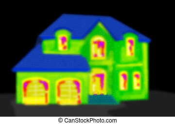 casa, area., negro, termal, obtención de imágenes