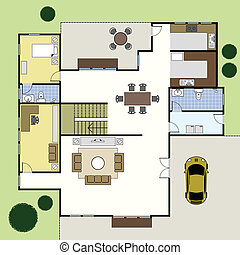 casa, arquitectura, floorplan, plan