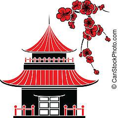 Casa asiática y flores de cerezo