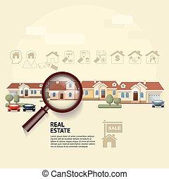 Casa bajo lupa. Ilustración de bienes raíces