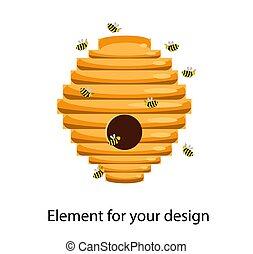 casa, bees., hive., background.., ilustración, vector, blanco, abeja, aislado