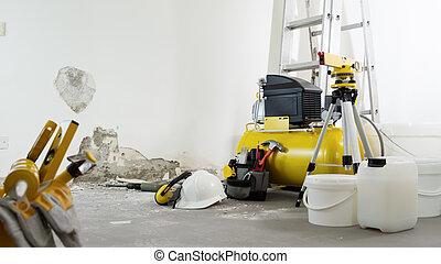 casa, blanco, construcción, concepto, compresor de aire, auriculares, seguridad, herramientas, pared, plano de fondo, renovación, casco