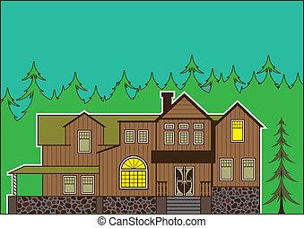 casa, bosque