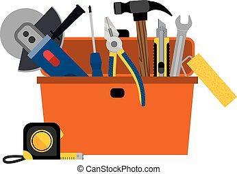 casa, caja de herramientas, diy, reparación