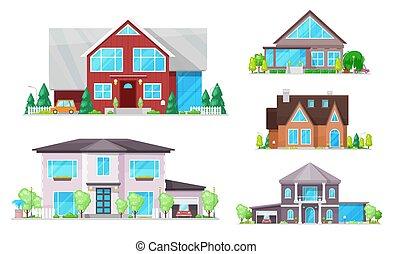 Casa, casa, casas de campo con techos, ventanas