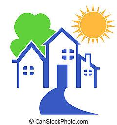 Casa con árbol y logotipo solar