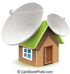 Casa con antenas satelitales