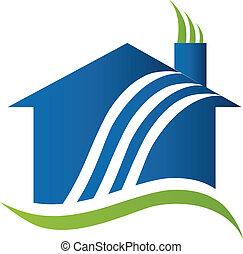 Casa con logotipo de reciclaje de aire