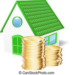 Casa con monedas.