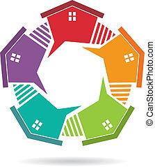 Casa con vallas en círculo