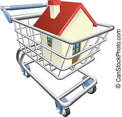 casa, concepto, carro de compras