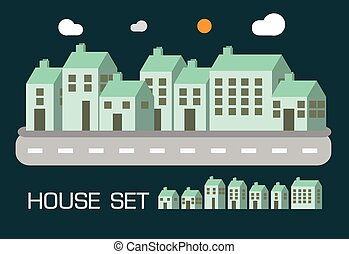 casa, concepto, conjunto, tono verde