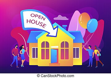 casa, concepto, vector, abierto, illustration.