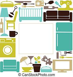 casa, conjunto, elctronics, furnitures