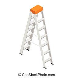 casa, construcción, aislado, escalera, vector., metálico, aluminio, stepladder, steps.