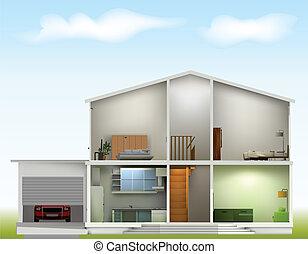 Casa cortada con interiores en el cielo