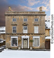 Casa Cotswold en la nieve