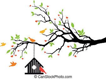 Casa de aves en el árbol de primavera, vector