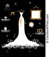 Casa de bodas, vestido blanco y accesorio