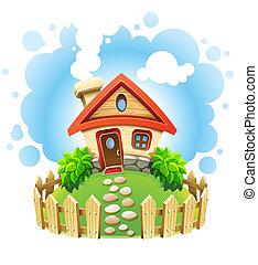 Casa de cuentos de hadas en el césped con cerca