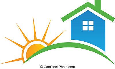 Casa de estilo con logotipo solar