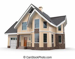 Casa de fondo blanco. Imagen tridimensional