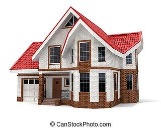Casa de fondo blanco. Una imagen tridimensional.