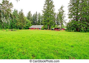 Casa de granja roja