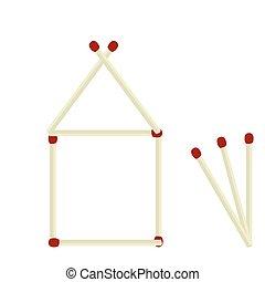 Casa de ilustración hecha de fósforos aislados en blanco